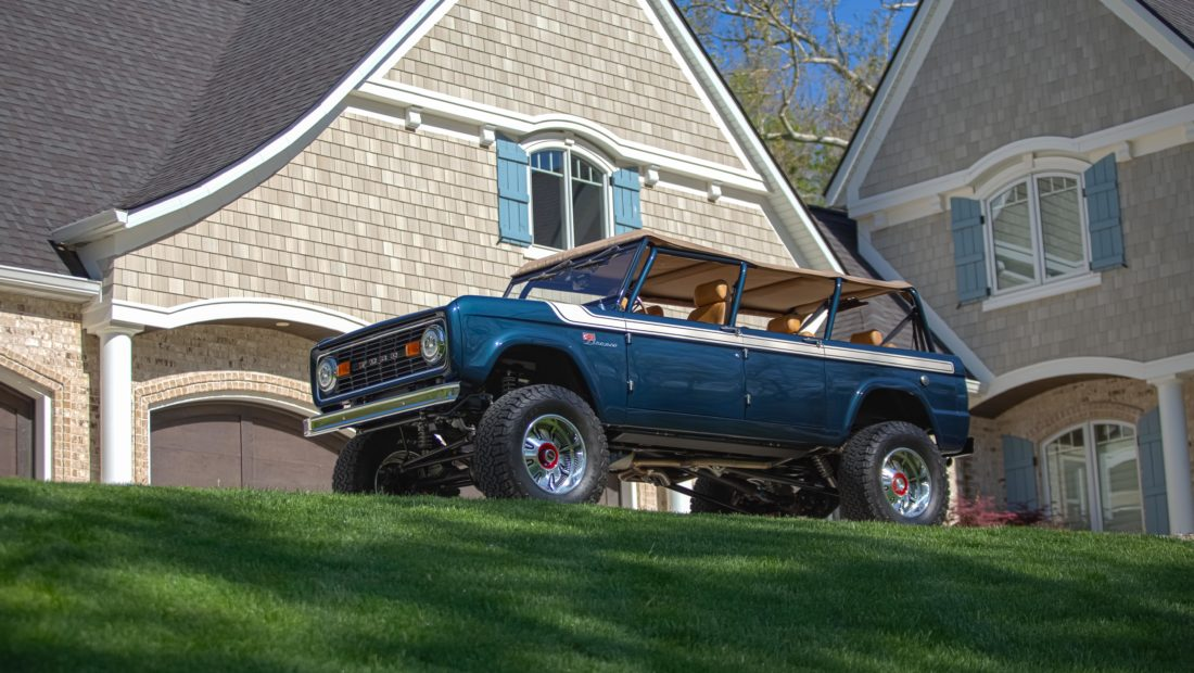 Custom 4 Door Ford Bronco from Gateway Bronco in Front of a House