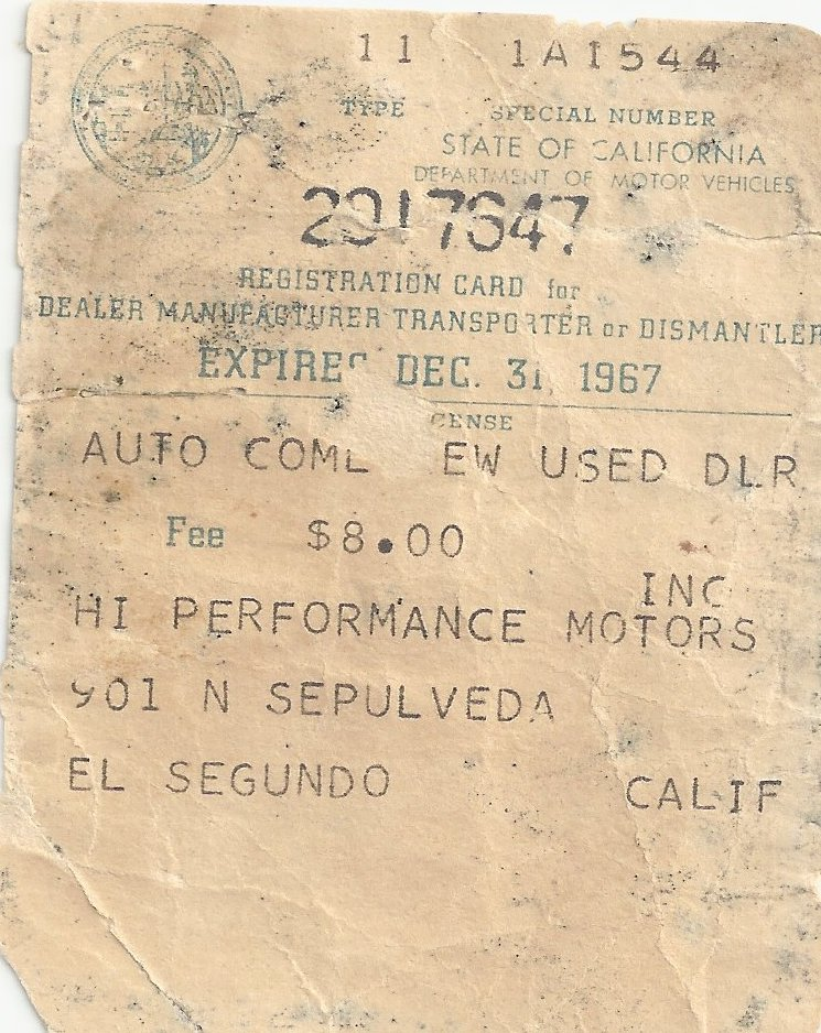 The First Ford Bronco Registration.